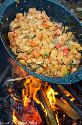 gnocchi over campfire
