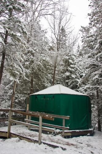 Yurt in Macgregor Point in the winter