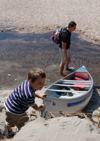 pushing a canoe