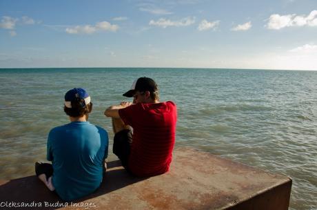two boys near the sea