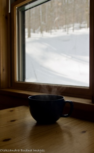 coffee cup by the window in the winter