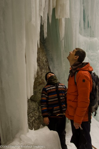 looking at a frozen waterfall