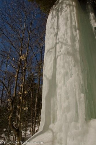 frozen waterfalls, Bat Lake Trail in Algonquin