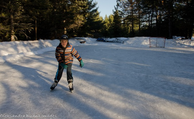 skating at mew lake campground in algonquin