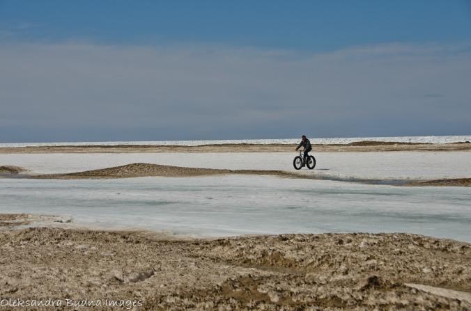 biking on the lake in the winter