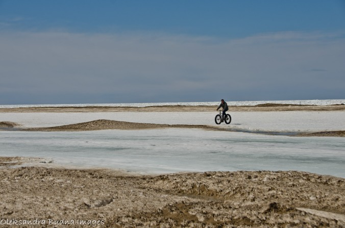 biking on the lake in the winter