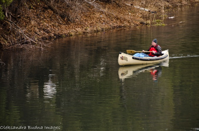 canoeist on Old Ausable Channel at Pinery