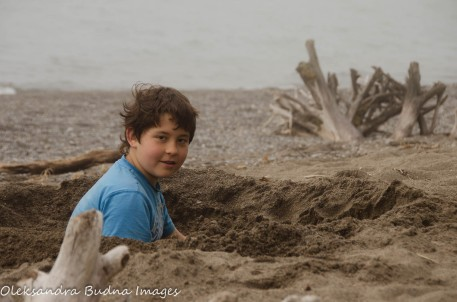 playing on the beach at Wheatley Provincial park