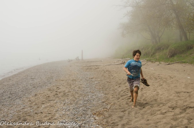 running on the beach at Wheatley Provincial park