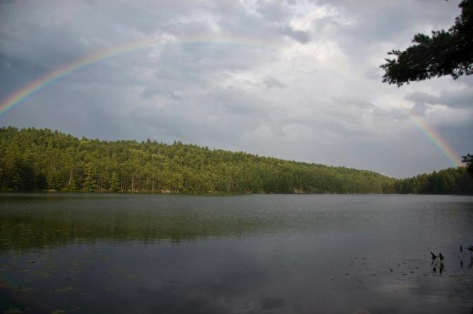 rainbow over Opalescent Lake in Algonquin