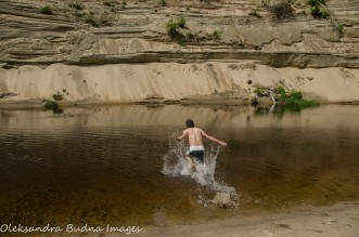 swimming at Big Bend at Arrowhead Provincial Park