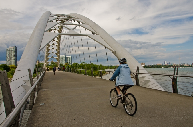 biking over Humber Bay bridge