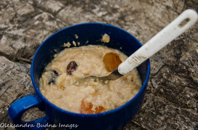 camping food - oatmeal with nuts and dry fruit