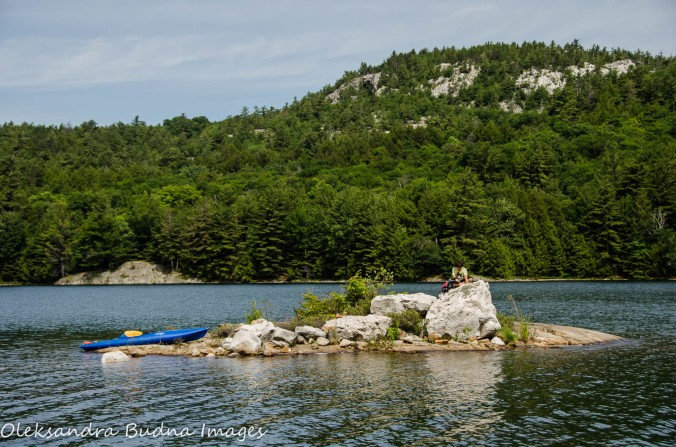 exploring an island on O.S.A. Lake at Killarney