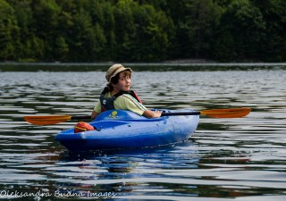 kayaking on O.S.A. lake at Killarney