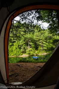 view from the tent on O.S.A. Lake at Killarney