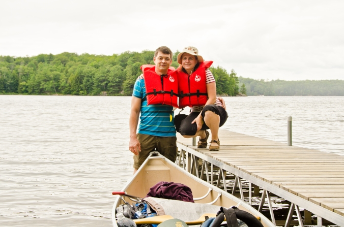 on a dock about to leave for a canoe trip at Massassauga Provincial Park