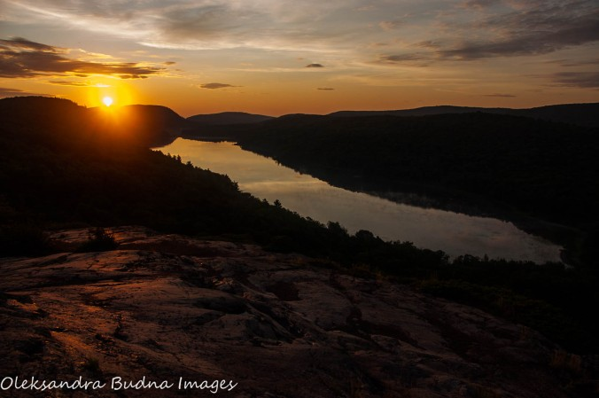 sunrise over Lake of the Clouds at Porcupine Mountains
