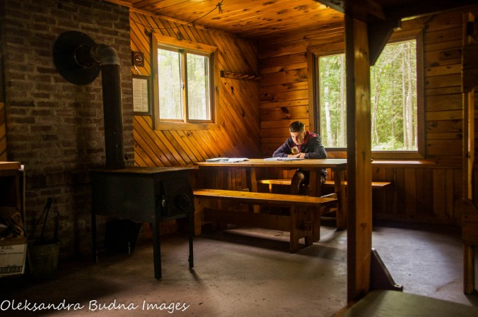 inside Gitche Gumee cabin at Porcupine Mountains