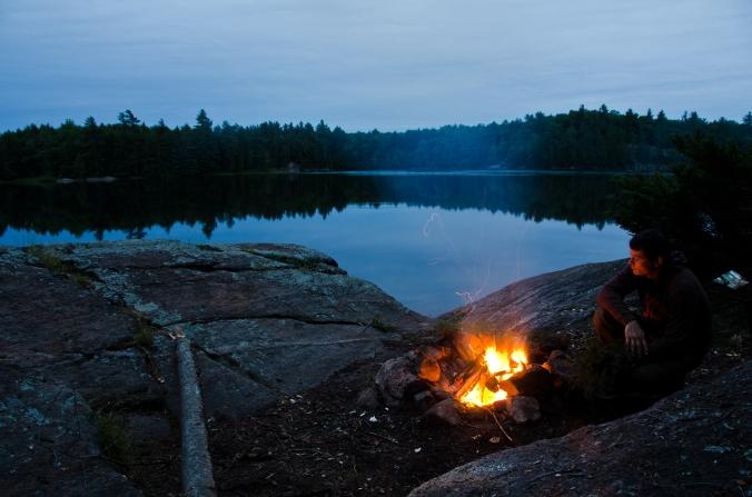 campfire by the lake at Massassauga provincial park
