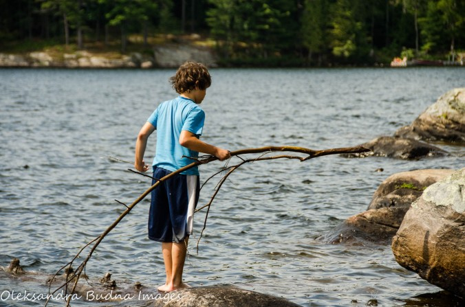 playing in the water at Silent Lake Provincial Park