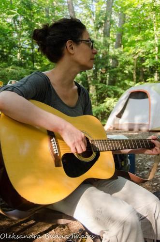 plaing the guitar