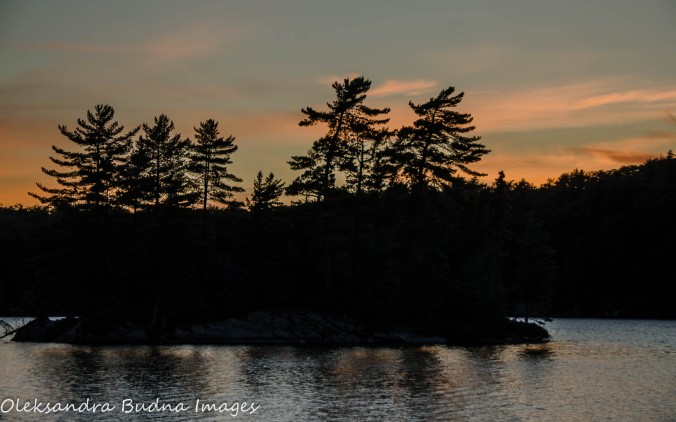 sunset on Maggie Lake at Algonquin Provincial Park