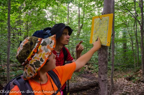 checking the map on Western Uplands Backpacking trail