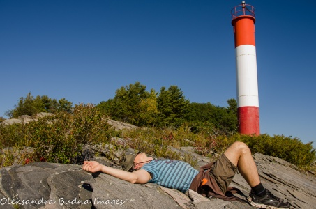relaxing near the lighthouse at Killbear Provincial Park