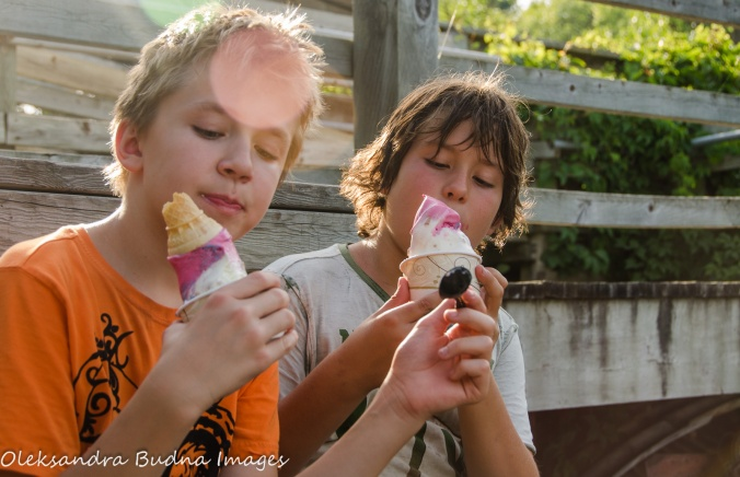 eating ice-cream at Pinery Provincial Park