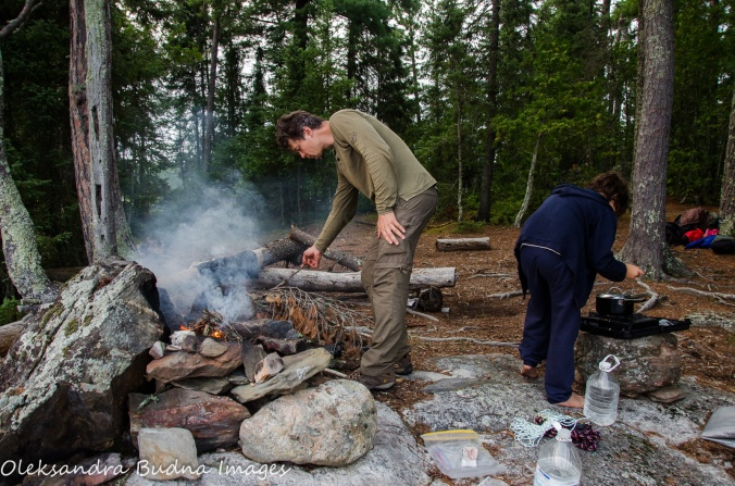 camping chores at backcountry campsite at Quetico
