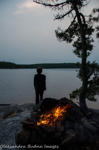 campfire at a backcountry campsite in Quetico
