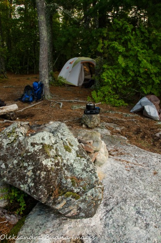 backcountry campsite in Quetico