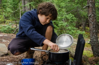 cooking dinner in Quetico