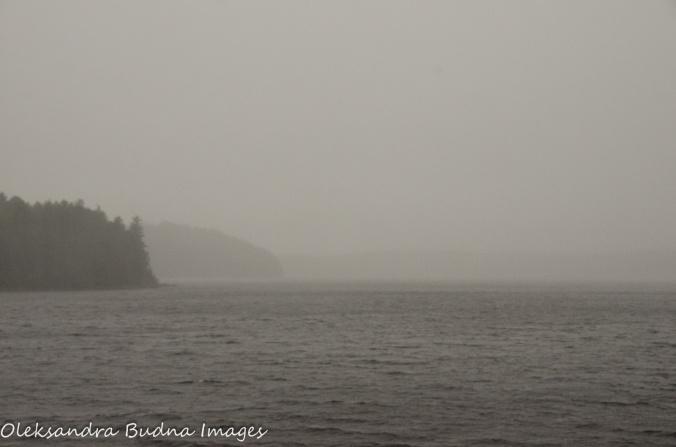 fog and rain on Quetico Lake