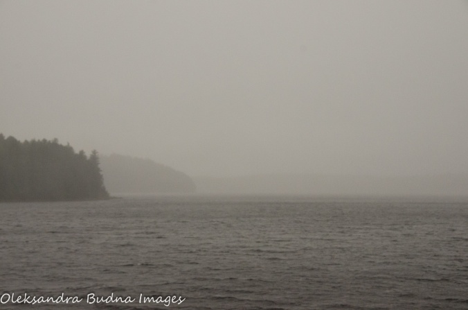 fog and rain on Quetico Lake