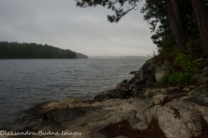 rain and fog on Quetico Lake