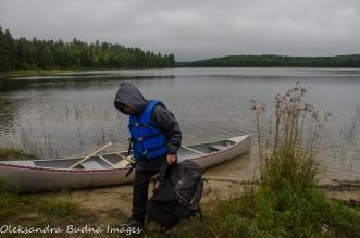unloading the canoe
