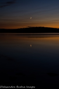 new moon over French Lake at Quetico Provincial Park