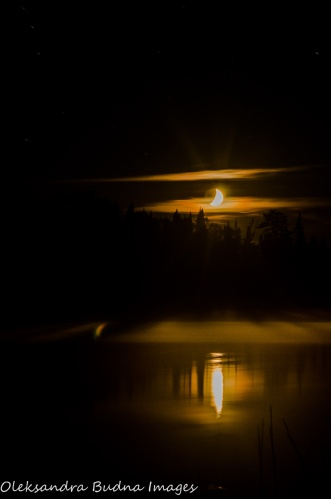 moon over French Lake at Quetico