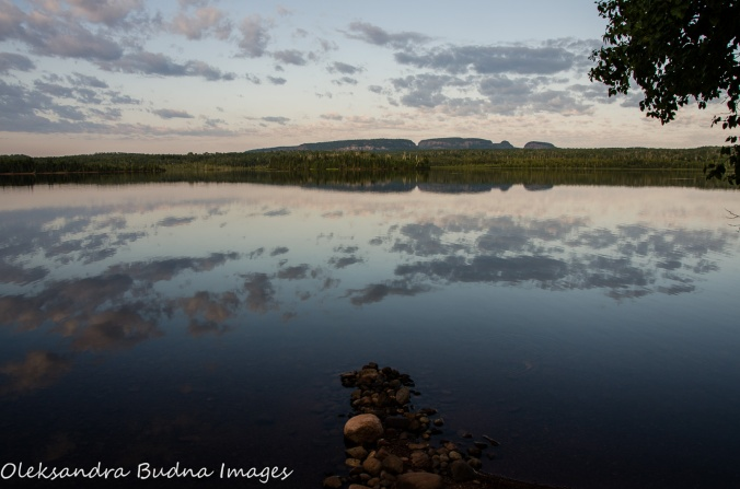view of Sleeping Giant across Marie Louise Lake