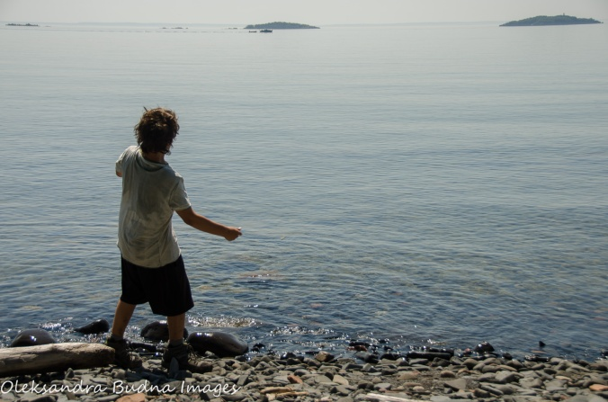 throwing stones at Lake Superior