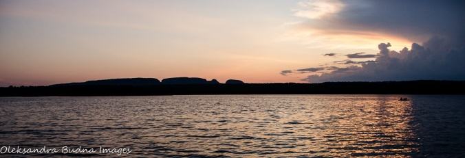 view of Sleeping Giant at sunset