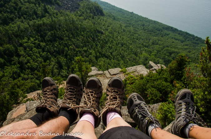 hiking shoes and view from Head of the Giant at Sleeping Giant
