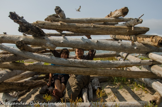 driftwood fort on the beach in Neys Provincial Park