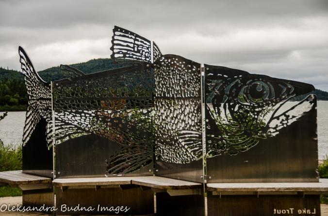 fish sculpture in Neys Provincial Park