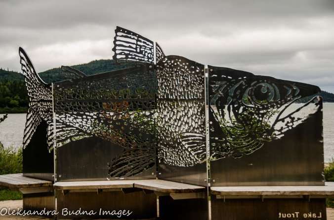 fish sculpture in Neys Provincial Park