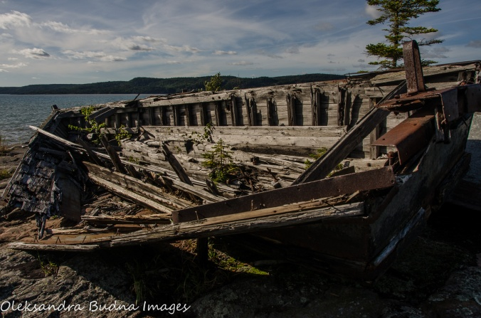 logging boats remains in Neys Provincial Park