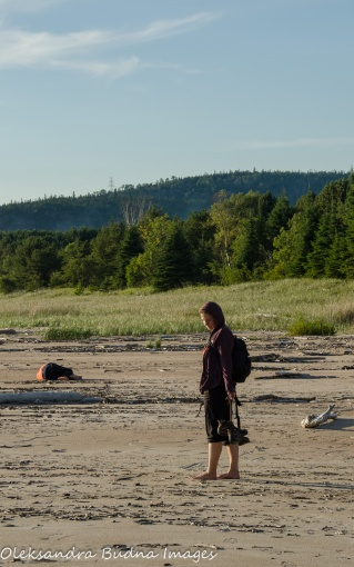 walking along the beach in Neys Provincial Park
