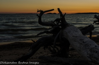 sunset on the beach in Neys Provincial Park